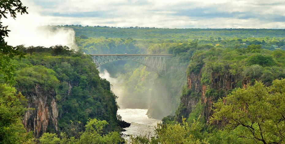The view from the Victoria Falls Hotel