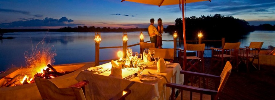 Luxurious lodge accommodation upstream of Victoria Falls