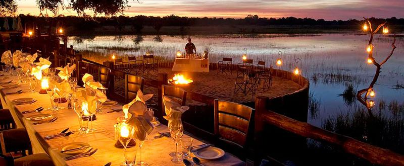 Al fresco dining on Chief's Island in Botswana