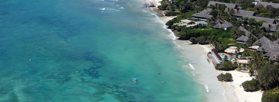 Aerial view of Leopard Beach Resort on Kenya's Diani Beach