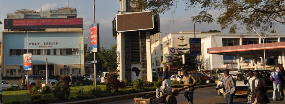 The historical clock tower in Arusha, Tanzania