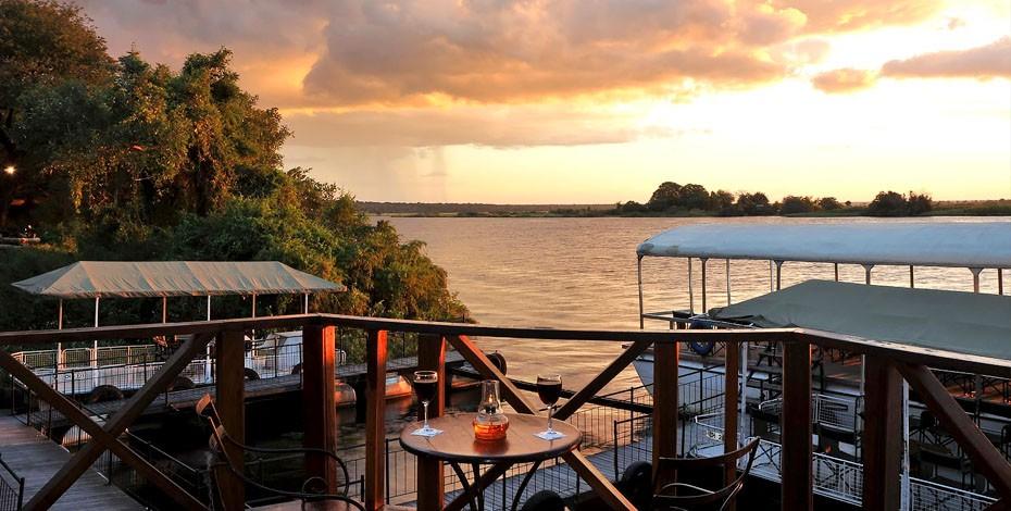 Riverside deck at Chobe Marina Lodge