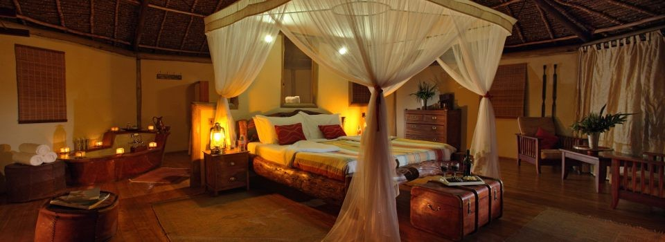 Guestroom interior at Tortilis Camp, Kenya